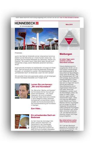 Den vierteljährlichen Newsletter von Hünnebeck erstellen wir direkt mit dem Dotmailer-Tool.