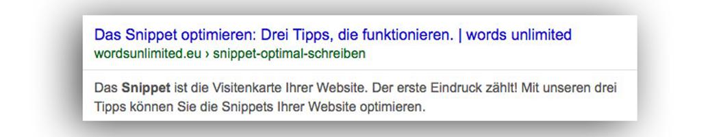 Mit dem Snippet wird Ihre Website von Google bei den Suchergebnissen präsentiert.